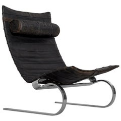 Poul Kjærholm Early PK20 Lounge Chair in Patinated Black Leather