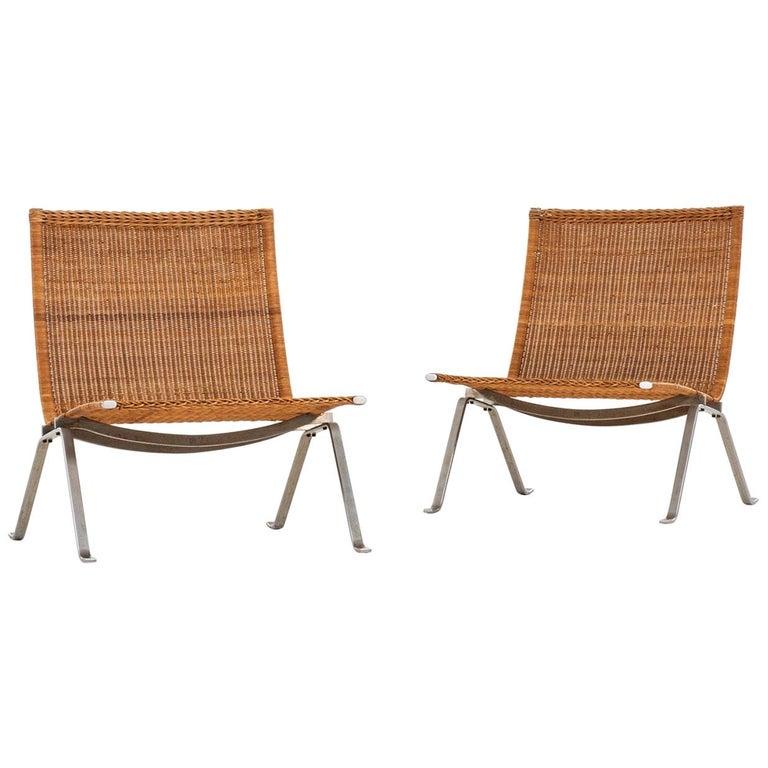 Poul Kjærholm Easy Chairs Model PK-22 Produced by E. Kold Christensen in Denmark For Sale