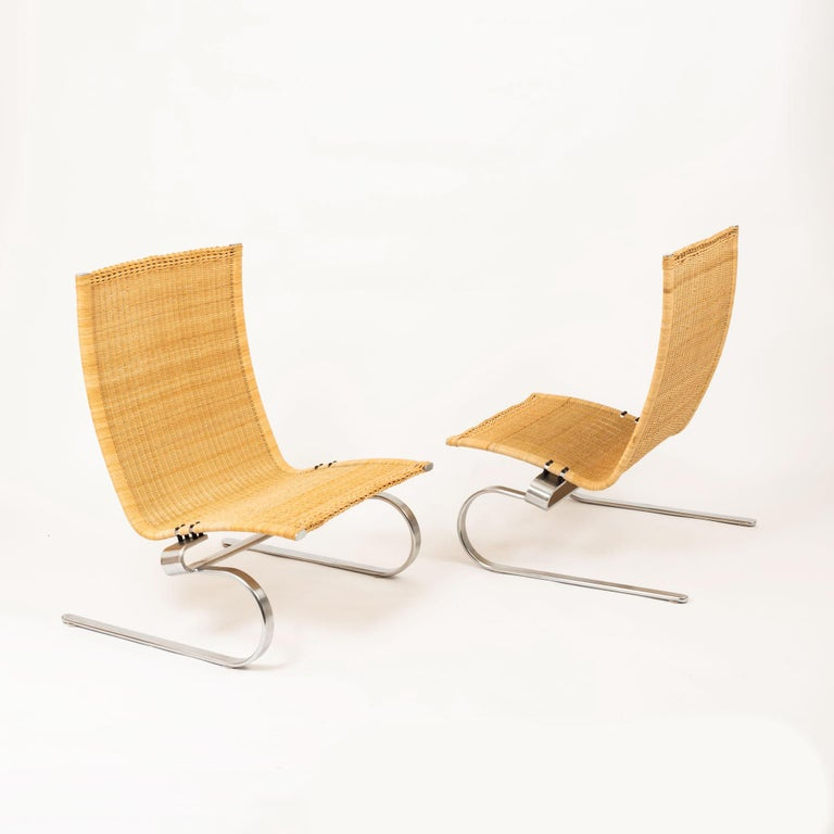 The PK20 is an elegant chair designed for relaxation by Poul Kjærholm. Handcrafted in wicker, the chair is woven over a flexible matt chromed spring steel frame. Poul Kjærholm was a trained cabinetmaker and studied under mid-century modern legends