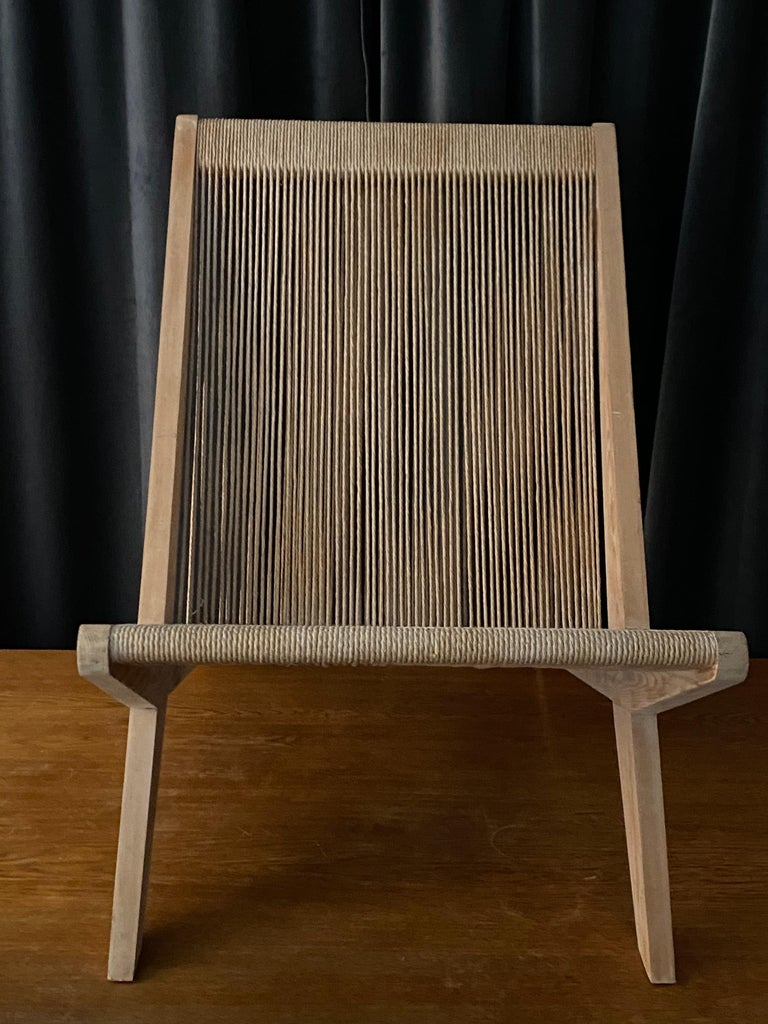 Poul Kjaerholm & Jørgen Høj 'Attribution' Lounge Chair, Pine Rope, Denmark 1960s For Sale 7