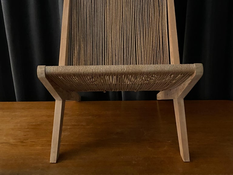 Poul Kjaerholm & Jørgen Høj 'Attribution' Lounge Chair, Pine Rope, Denmark 1960s For Sale 8