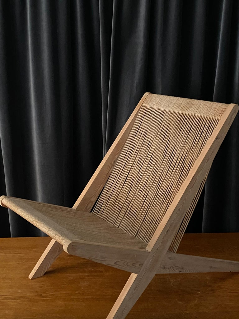 Scandinavian Modern Poul Kjaerholm & Jørgen Høj 'Attribution' Lounge Chair, Pine Rope, Denmark 1960s For Sale
