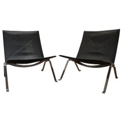 "Poul Kjærholm Pair of ""PK 22"" Lounge Easy Chairs Black Leather"