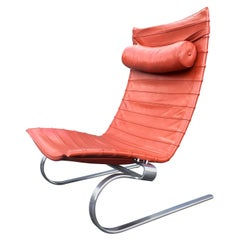 Poul Kjaerholm PK 20 Lounge Chair Red Orange Leather