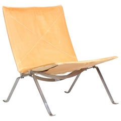 Poul Kjærholm PK 22 Lounge Chair with Cognac Leather by Fritz Hansen, 2001