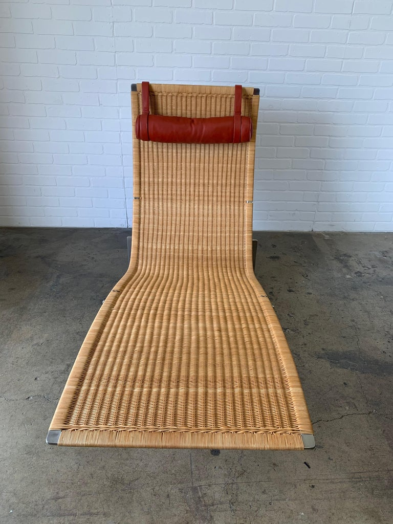Poul Kjærholm PK 24 Chaise Lounge with Wicker Seat for Fritz Hansen For Sale 9
