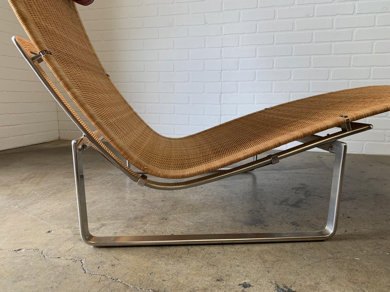 Mid-Century Modern Poul Kjærholm PK 24 Chaise Lounge with Wicker Seat for Fritz Hansen For Sale