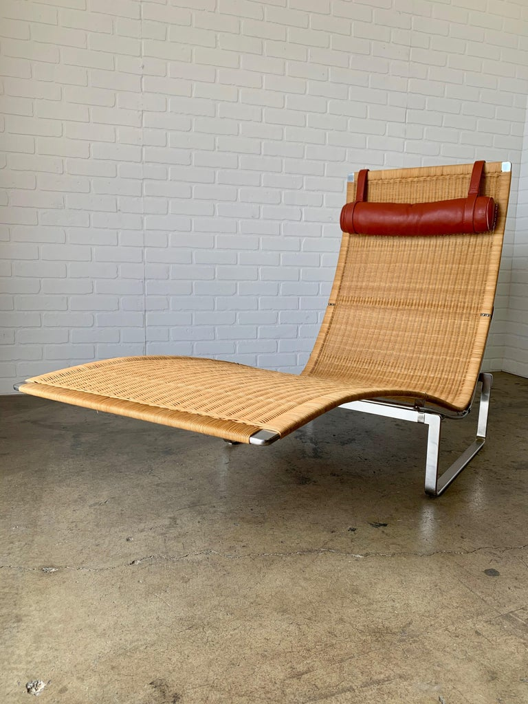 Danish Poul Kjærholm PK 24 Chaise Lounge with Wicker Seat for Fritz Hansen For Sale
