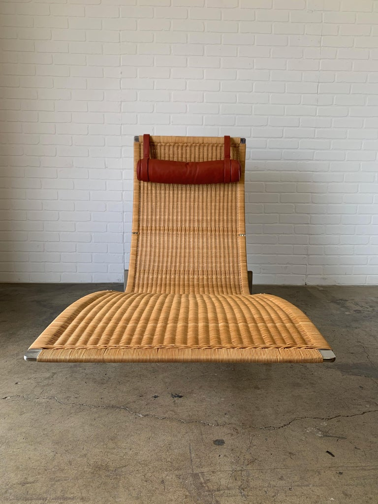 Poul Kjærholm PK 24 Chaise Lounge with Wicker Seat for Fritz Hansen In Good Condition For Sale In Laguna Hills, CA
