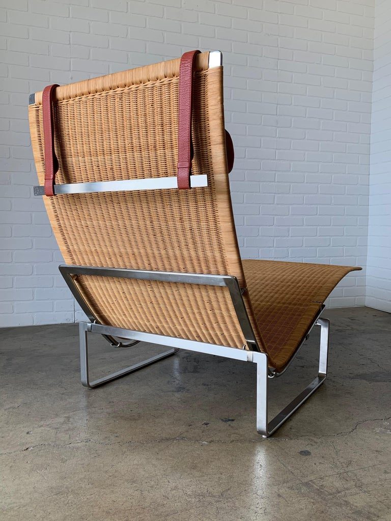20th Century Poul Kjærholm PK 24 Chaise Lounge with Wicker Seat for Fritz Hansen For Sale