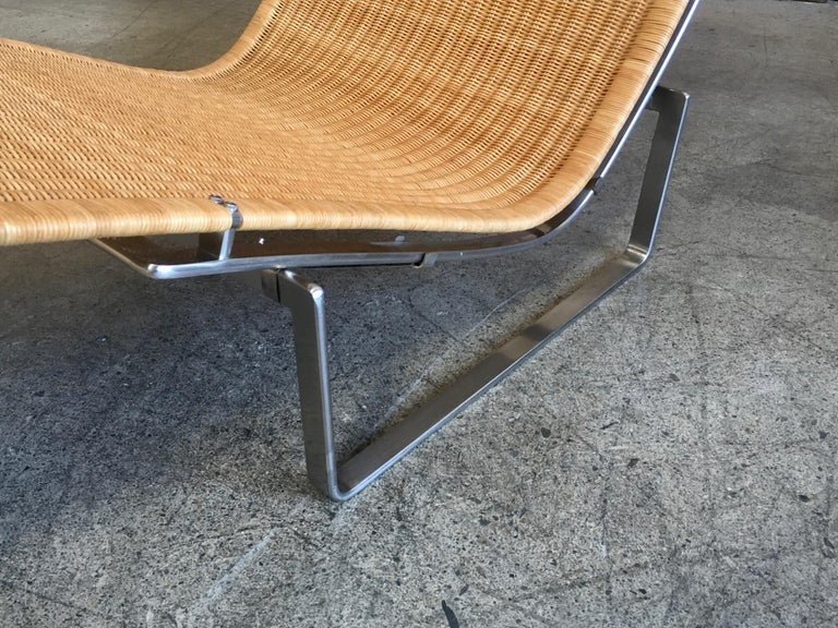 Stainless Steel Poul Kjærholm PK 24 Chaise Lounge with Wicker Seat for Fritz Hansen For Sale