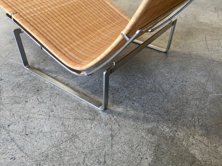 Poul Kjærholm PK 24 Chaise Lounge with Wicker Seat for Fritz Hansen For Sale 2