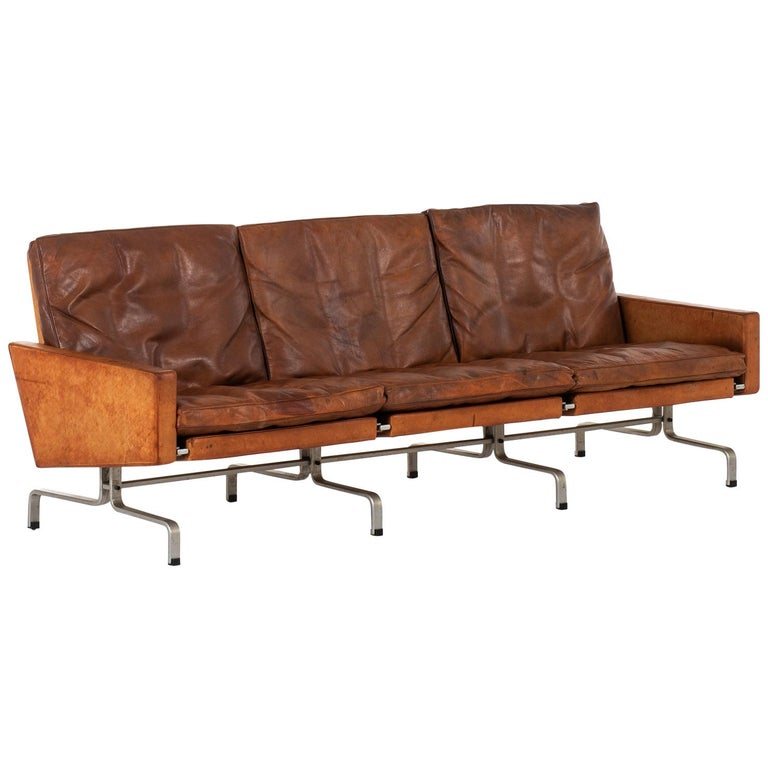 Poul Kjærholm PK-31/3 Sofa by E. Kold Christensen in Denmark For Sale
