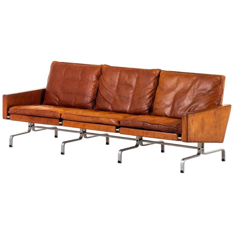 Poul Kjærholm PK-31/3 Sofa Produced by E. Kold Christensen in Denmark For Sale