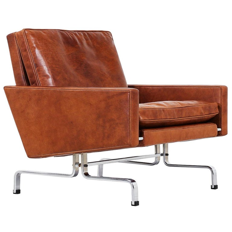 Poul Kjaerholm PK-31 Leather Lounge Chair for E. Kold Christensen For Sale