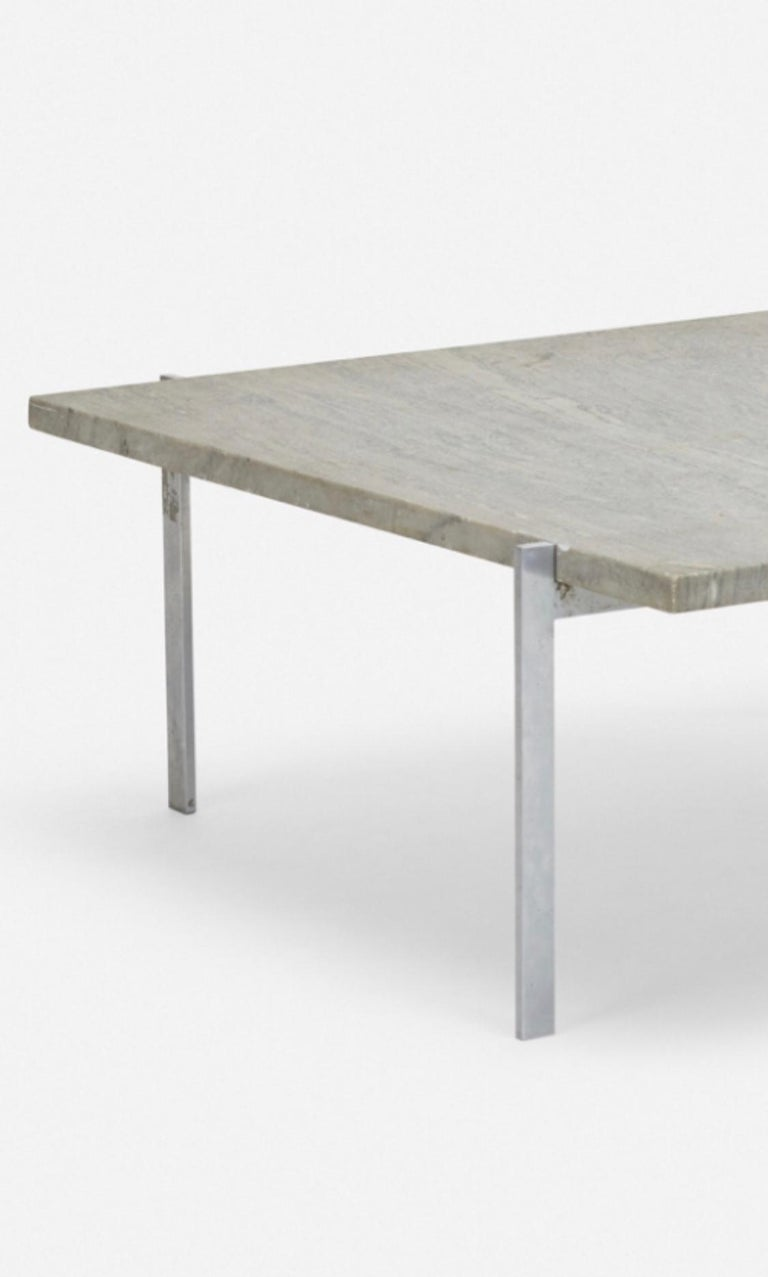 Beautiful coffee table by Poul Kjaerholm, model PK 61, Denmark, 1956. Flint-rolled Cipollino marble, matte chrome-plated steel. Signed with impressed manufacturer's mark to frame. Provenance: Private Collection. Literature: The Furniture of Poul
