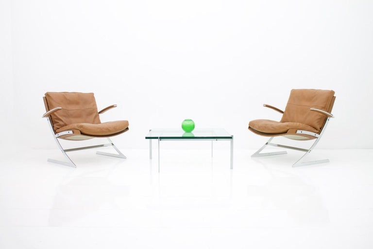 Coffee Table by Poul Kjaerholm, PK 61 made by E. Kold Christensen, Denmark 1956. Glass & Steel.  Very good condition.