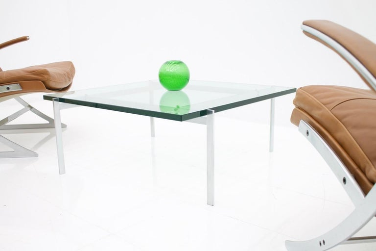 Scandinavian Modern Poul Kjaerholm PK 61 Coffee Table in Steel and Glass E. Kold Christensen Denmark For Sale