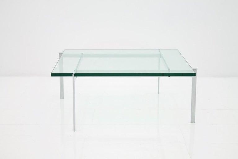Danish Poul Kjaerholm PK 61 Coffee Table in Steel and Glass E. Kold Christensen Denmark For Sale