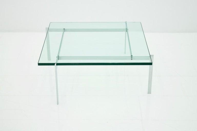 Poul Kjaerholm PK 61 Coffee Table in Steel and Glass E. Kold Christensen Denmark In Good Condition For Sale In Frankfurt / Dreieich, DE