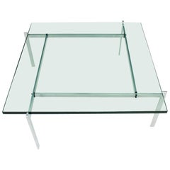 Poul Kjaerholm PK 61 Coffee Table in Steel and Glass E. Kold Christensen Denmark