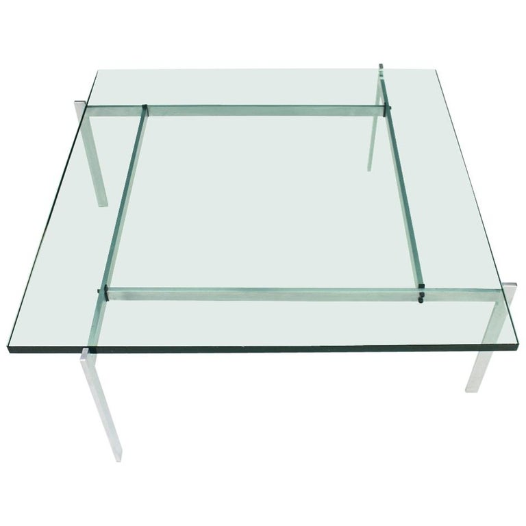 Poul Kjaerholm PK 61 Coffee Table in Steel and Glass E. Kold Christensen Denmark For Sale