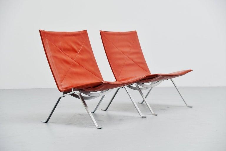 Poul Kjaerholm PK22 Chairs E Kold Christensen, Denmark, 1956 In Good Condition For Sale In Roosendaal, Noord Brabant