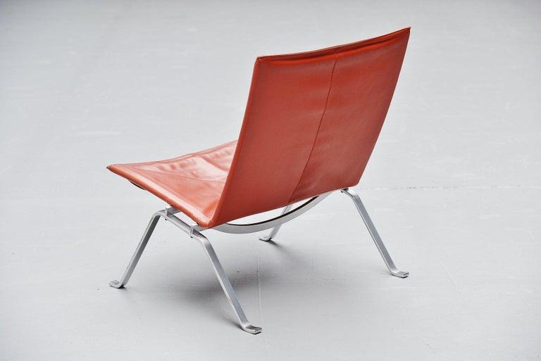 Leather Poul Kjaerholm PK22 Chairs E Kold Christensen, Denmark, 1956 For Sale