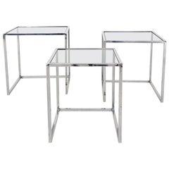 Poul Kjaerholm PK71 Style Chrome and Glass Nesting Tables or Mimiset, 1970s