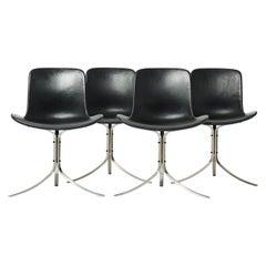 Poul Kjaerholm PK9 Chairs, Black Leather Upholstered, Set of 4