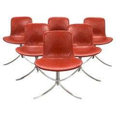 Poul Kjaerholm PK9 Chairs, Vintage Red Leather Upholstered, Set of 6
