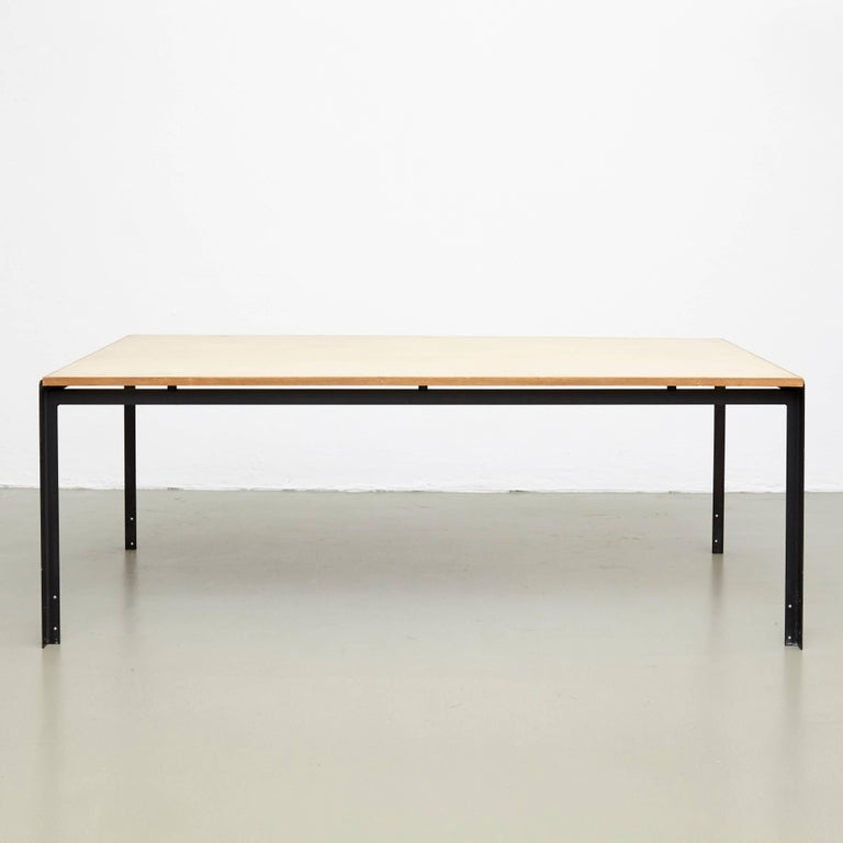 Professors desk designed by Poul Kjaerholm manufactured by Rud Rasmussen in Denmark.  Wood linoleum tabletops and lacquered metal legs  In good original condition, with minor wear consistent with age and use, preserving a beautiful patina.