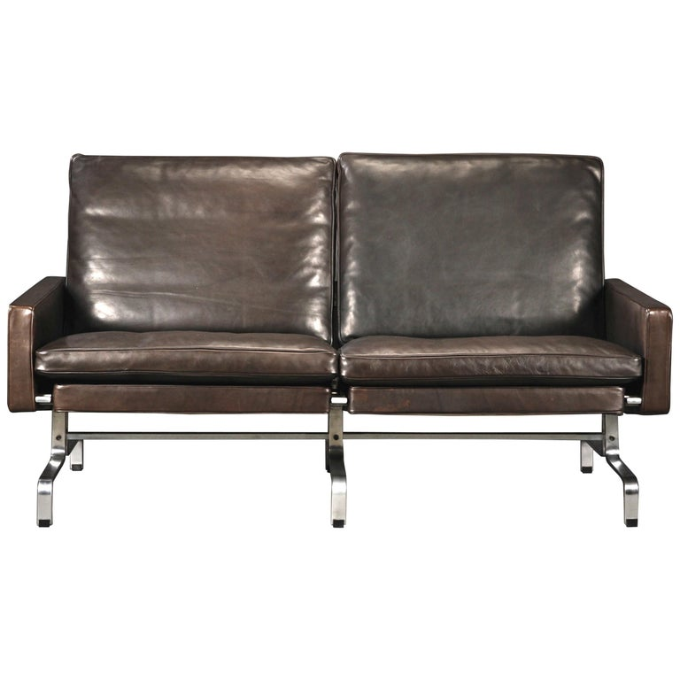 "Poul Kjaerholm Two-Seat Black ""Elegance"" Leather Sofa for E.Kold Christensen For Sale"