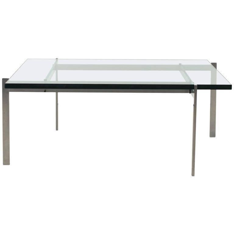 Poul Kjærholm, PK61 Coffee Table, 1986 by Fritz Hansen, Denmark, Glass Top
