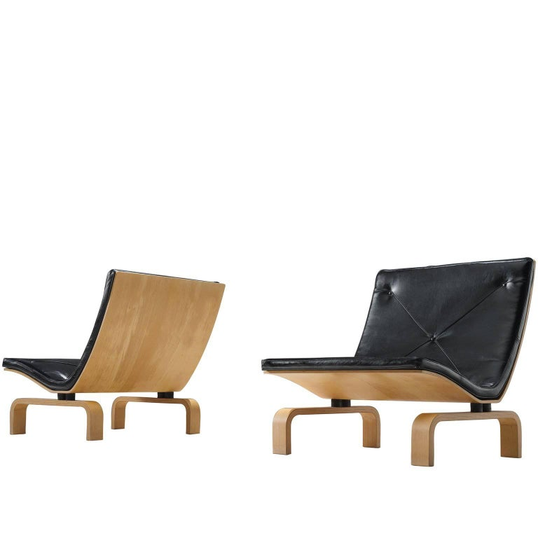 Poul Kjærholm PK27 Lounge Chairs in Black Leather