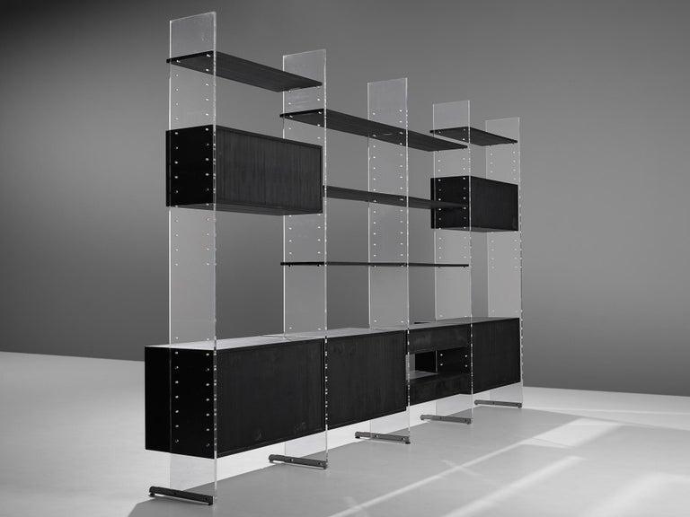 Poul Nørreklit Cabinet in Plexiglas, Aluminum and Black Lacquered Wood For Sale 8