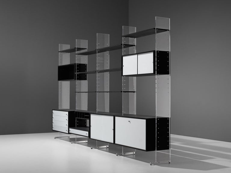 Poul Nørreklit Cabinet in Plexiglas, Aluminum and Black Lacquered Wood For Sale 9