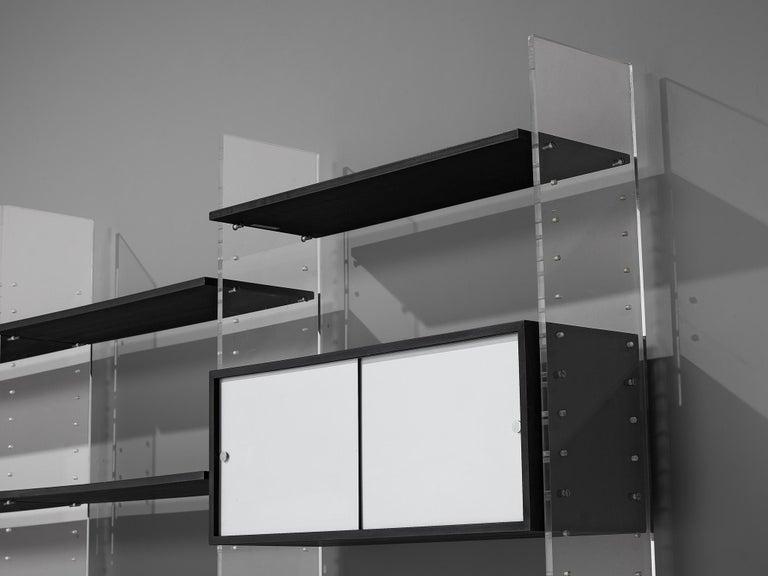 Scandinavian Modern Poul Nørreklit Cabinet in Plexiglas, Aluminum and Black Lacquered Wood For Sale