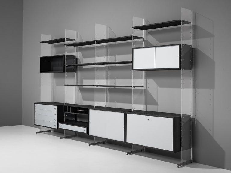 Danish Poul Nørreklit Cabinet in Plexiglas, Aluminum and Black Lacquered Wood For Sale