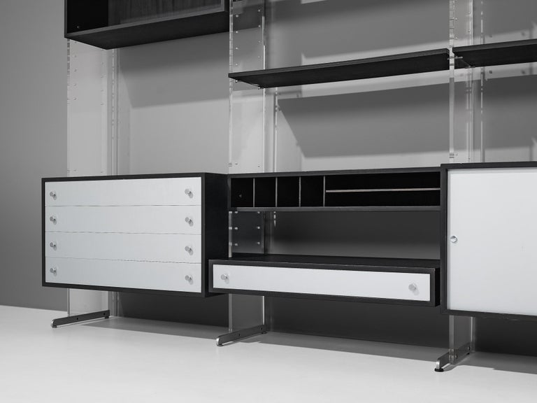 Poul Nørreklit Cabinet in Plexiglas, Aluminum and Black Lacquered Wood In Good Condition For Sale In Waalwijk, NL