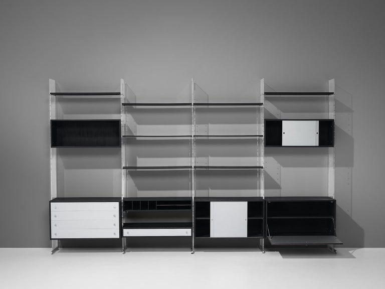 Mid-20th Century Poul Nørreklit Cabinet in Plexiglas, Aluminum and Black Lacquered Wood For Sale