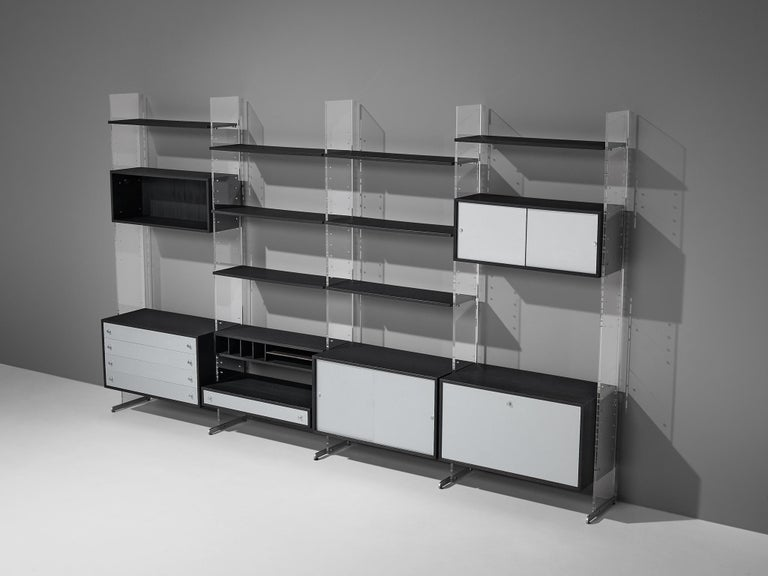 Poul Nørreklit Cabinet in Plexiglas, Aluminum and Black Lacquered Wood For Sale 2