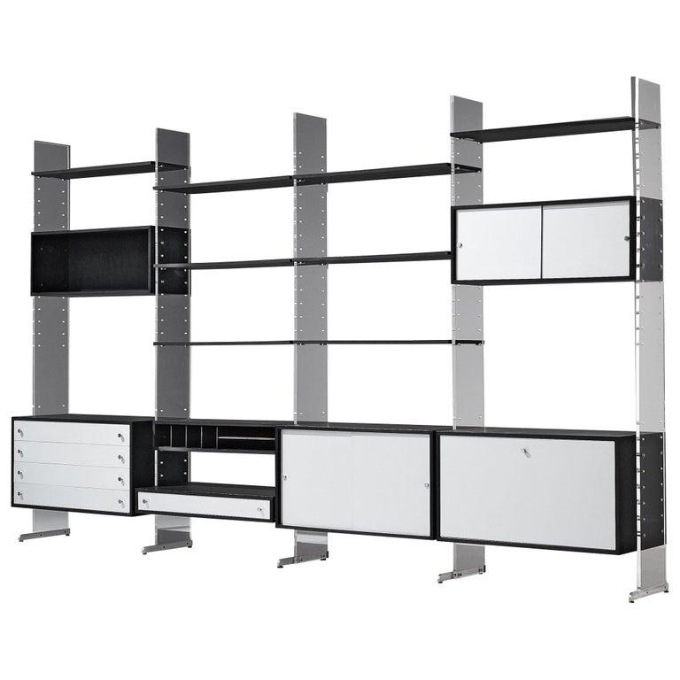 Poul Nørreklit Cabinet in Plexiglas, Aluminum and Black Lacquered Wood For Sale