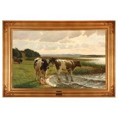 Poul Steffensen Landscape with Mottled Cows, Signed Poul Steffensen
