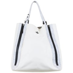 Pour la Victoire White Leather Tote with Lizard Skin Detail