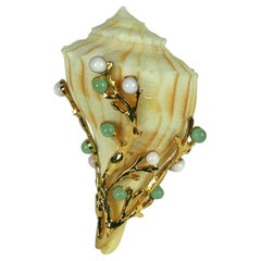 Poured Glass Jeweled Shell Clip, MWLC