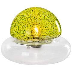 """Poveglia"" Italian Yellow and Green Glass 1970s Table Lamp by Gae Aulenti"