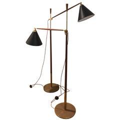 Povl Dinesen Brass and Teak Floor Lamp, 1960s