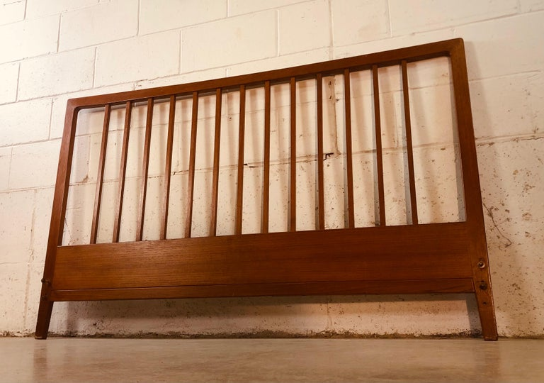 Povl Dinesen Danish Teak Spindle Back Queen Headboard 6