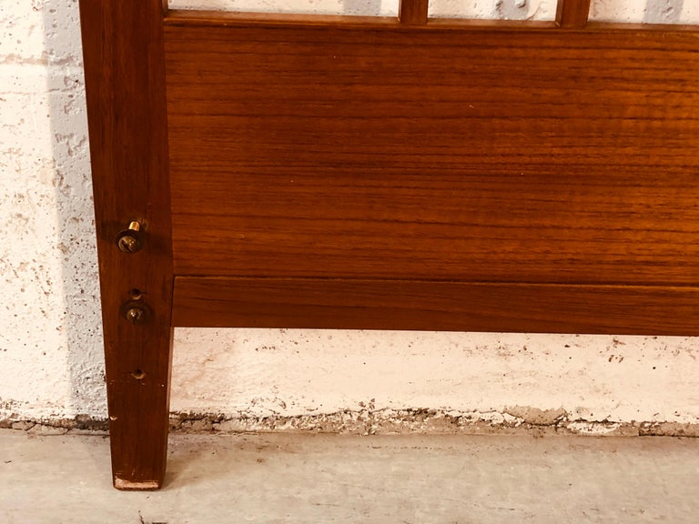 Povl Dinesen Danish Teak Spindle Back Queen Headboard 1